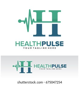 H Health Pulse Letter Logo Template Design Vector, Emblem, Design Concept, Creative Symbol, Icon