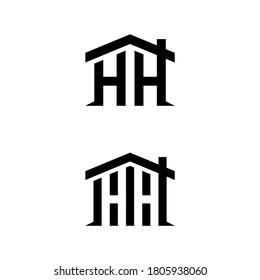h hh initial building logo design vector symbol graphic idea creative