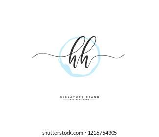 H H HH initial logo handwriting  template vector