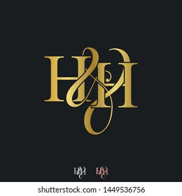 H & H HH logo initial vector mark. Initial letter H & H HH luxury art vector mark logo, rose gold, silver, gold color on black background.