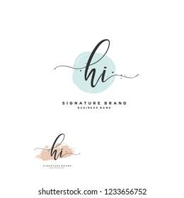H I HI Initial logo template vector