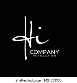 H I Initial Letter handwriting logo vector. Hand lettering for designs