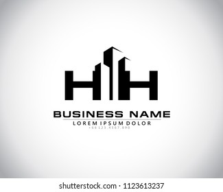 H H Initial logo concept with building template vector.