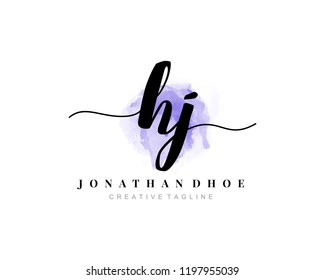 H J HJ Initial watercolor logo on white background. Logo template vector
