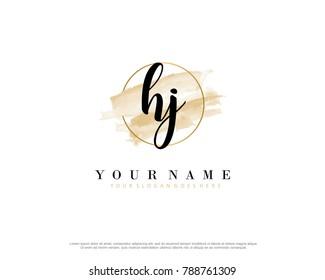 H J Initial water color logo template vector