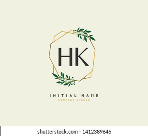 H K HK Beauty vector initial logo, handwriting logo of initial wedding, fashion, jewerly, heraldic, boutique, floral and botanical with creative template for any company or business.