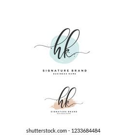 H K HK Initial logo template vector