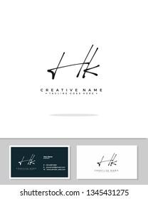 H K HK initial logo signature template vector. Handwriting logo concept