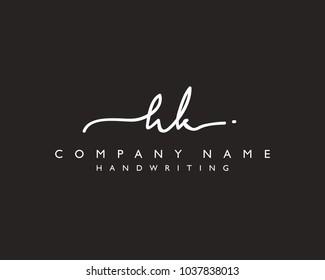 H K Initial handwriting logo