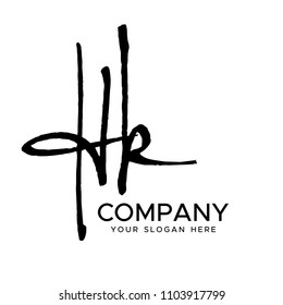 H K Initial Letter handwriting logo vector. Hand lettering for designs