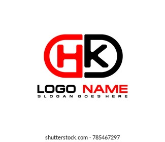 H K initial logo template vexctor