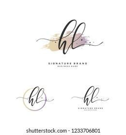 H L HL Initial logo template vector