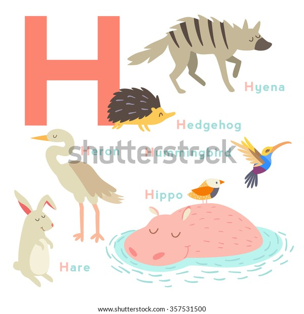 H letter animals set. English alphabet. Vector illustration, isolated on white background