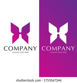 H letter Butterfly concept vector for commercial use identity. come in color and monochrome version
