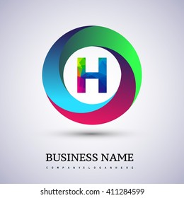 H letter colorful logo in the circle. Vector design template elements for your application or company identity.