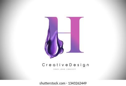 H Letter Design Brush Paint Stroke. Purple h Letter Logo Icon with Violet Paintbrush Vector Illustration