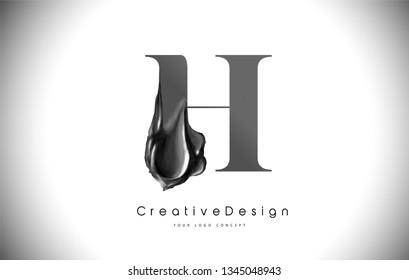 H Letter Design Brush Paint Stroke. Black h Letter Logo Icon with black Paintbrush Vector Illustration