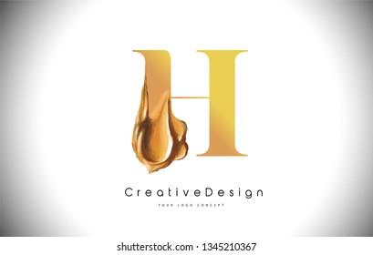 H Letter Design Brush Paint Stroke. Gold h Letter Logo Icon with Golden Paintbrush Vector Illustration