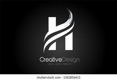 H Letter Design Brush Paint Stroke. Letter Logo on Black Background