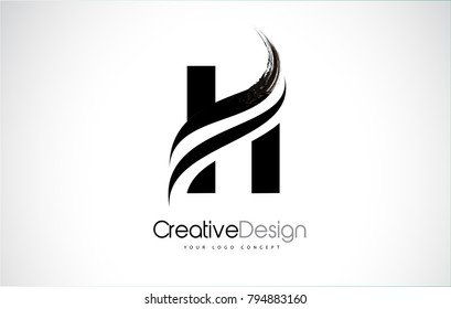 H Letter Design Brush Paint Stroke. Letter Logo with Black Paintbrush Stroke.