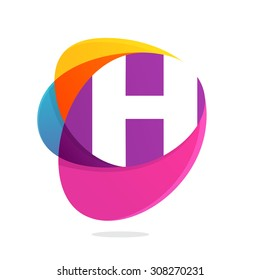 H letter with ellipses intersection logo. Abstract trendy multicolored vector design template elements for your application or corporate identity.