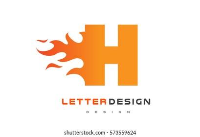 H Letter Flame Logo Design. Fire Logo Lettering Concept Vector.