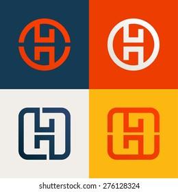 H letter line logo set, design template elements