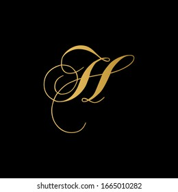 H letter logo with black background.The gold letter icon.Gold letter icon design.