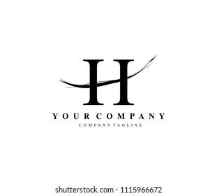 H Letter Logo Design Brush Stroke