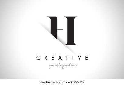 H Letter Logo Design with Creative Paper Cut and Serif Font.