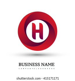 H letter logo in the red circle. Vector design template elements for your application or company identity.