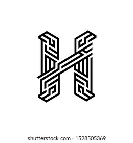 H letter logo script lettering.