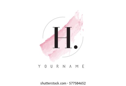 H Letter Logo with Watercolor Pastel Aquarella Brush Stroke and Circular Rounded Design.