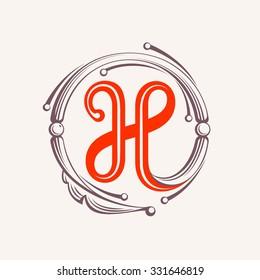H letter monogram design elements. Floral vintage style