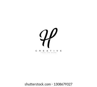 H Letter Script Calligraphy Creative Logo Design