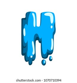 H letter of sweet fruit jelly, glossy, edible liquid font vector Illustration on a white background
