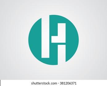 H letter vector logo green
