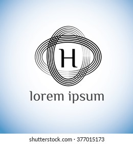 H letter vector logo template (sign, symbol, emblem, ornament)