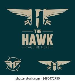 H logo. letter based Hawk bird or Harpy theme vector army badge style