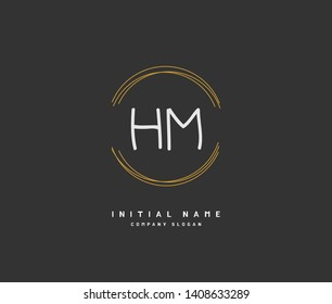 H M HM Beauty vector initial logo, handwriting logo of initial wedding, fashion, jewerly, heraldic, boutique, floral and botanical with creative template for any company or business.