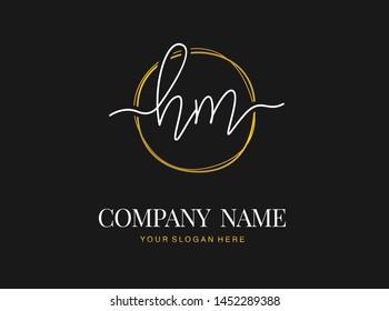 H M HM Initial handwriting logo design with circle. Beautyful design handwritten logo for fashion, team, wedding, luxury logo.