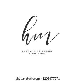 H M HM Initial letter handwriting and  signature logo concept design