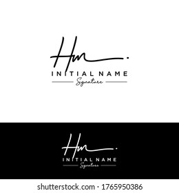 H M HM Initial letter handwriting and signature logo.