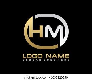 H M Initial circle logo template vector