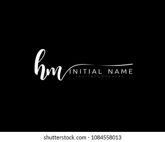H M Initial handwriting logo vector. Hand lettering for designs.