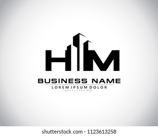 H M Initial logo concept with building template vector.