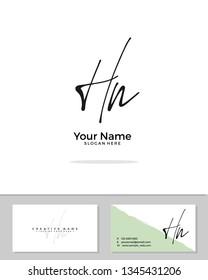 H N HN initial logo signature template vector. Handwriting logo concept