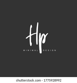 H P HP Initial handwriting or handwritten logo for identity. Logo with hand drawn style.