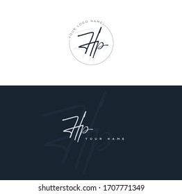 H P HP Initial letter handwriting and signature logo.