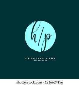 H P HP Initial logo template vector